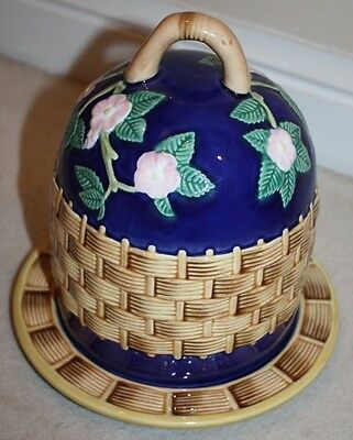 Vintage Majolica Cheese Dome and Plate Cobalt Blue Basket Weave Design Floral