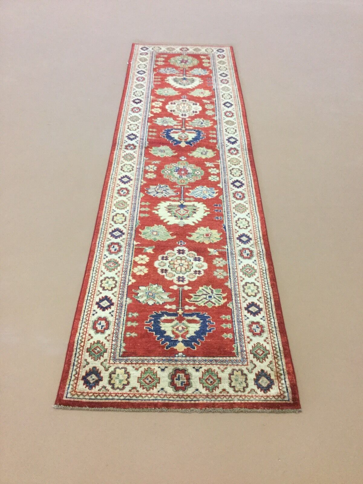 2'.7  X 9'.9  Rosa Beige Super Super Super Kazak Persian Oriental Rug Runner Hand Knotted d4e614