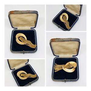 Vintage-Brooch-Sphinx-Gold-Tone-Modernist-Tassel-Design-Pretty-Retro-Kitsch