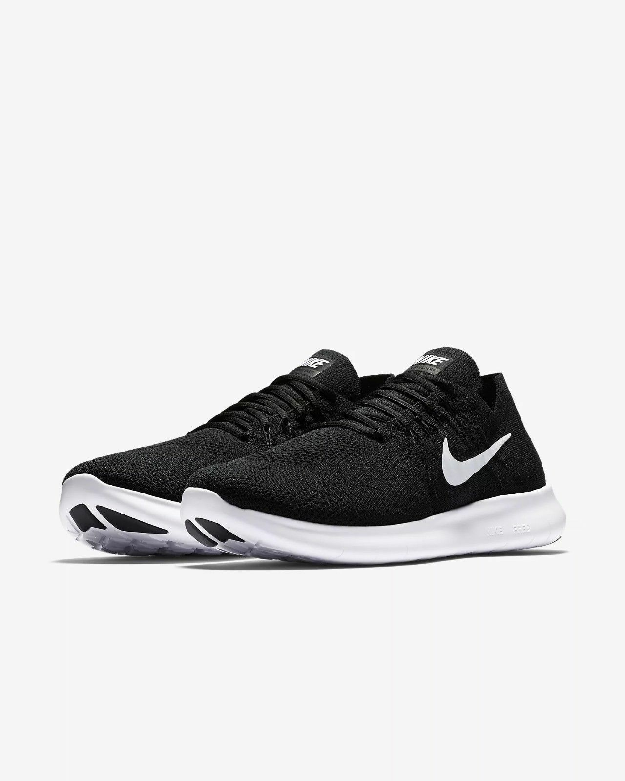 Men's Nike Free RN Flyknit 2017 Running Black White Sizes 8-13 NIB 880843-001