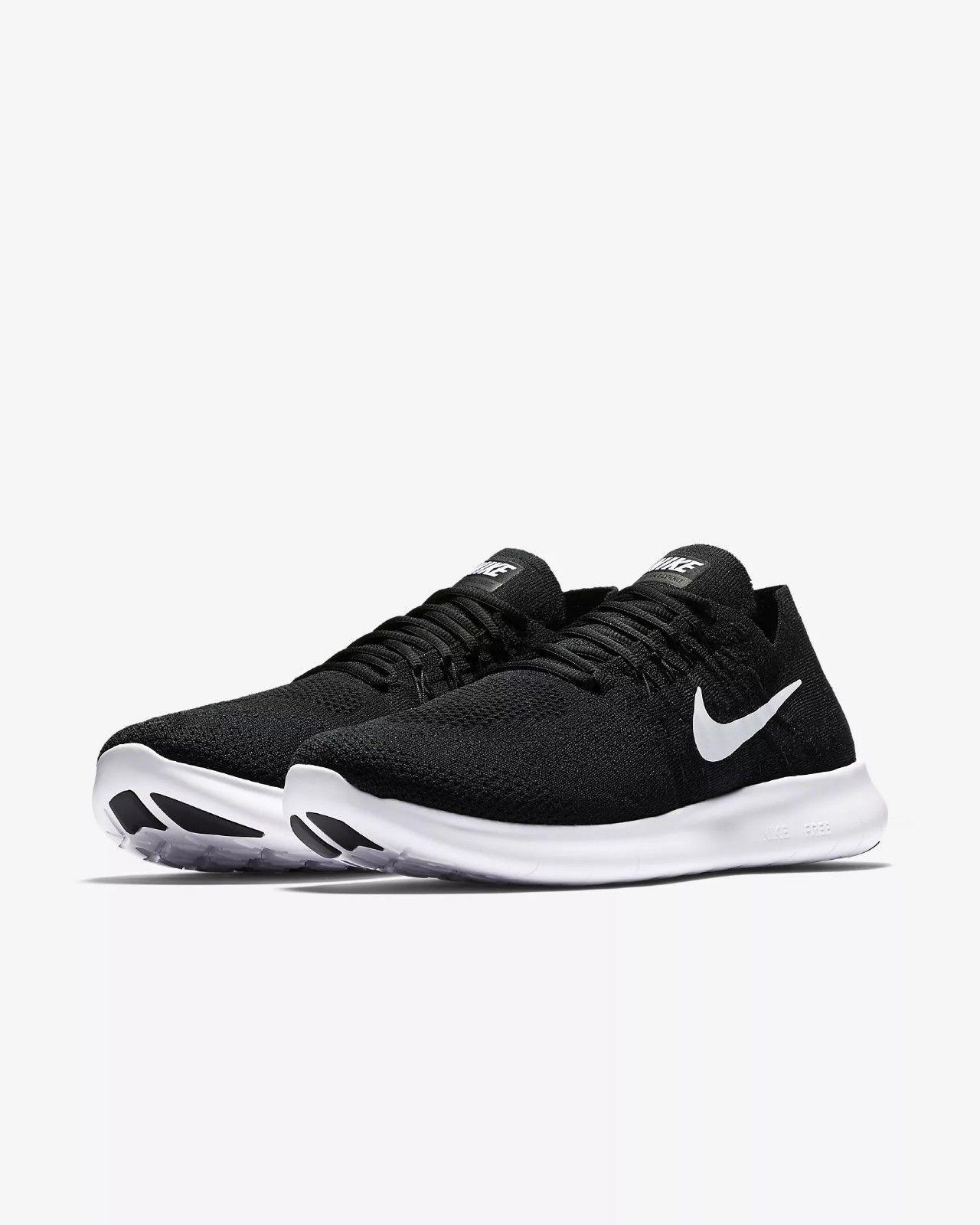Men's Nike Free RN Flyknit 2017 Running Black/White Sizes 8-13 NIB 880843-001