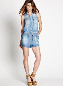 d24d2a5d0d0b NWT GUESS  98 Amy Denim Romper Jumpsuit Shorts Light Blue XS 1 2 3 ...