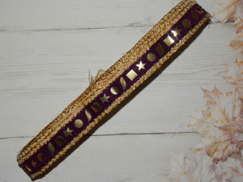 23mm plum shisha foil mirror indian embroidered velvet ribbon trimming