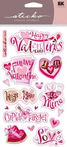 EK Success STICKO Classic /& Dimensional Stickers VALENTINE/'S LOVE HEARTS