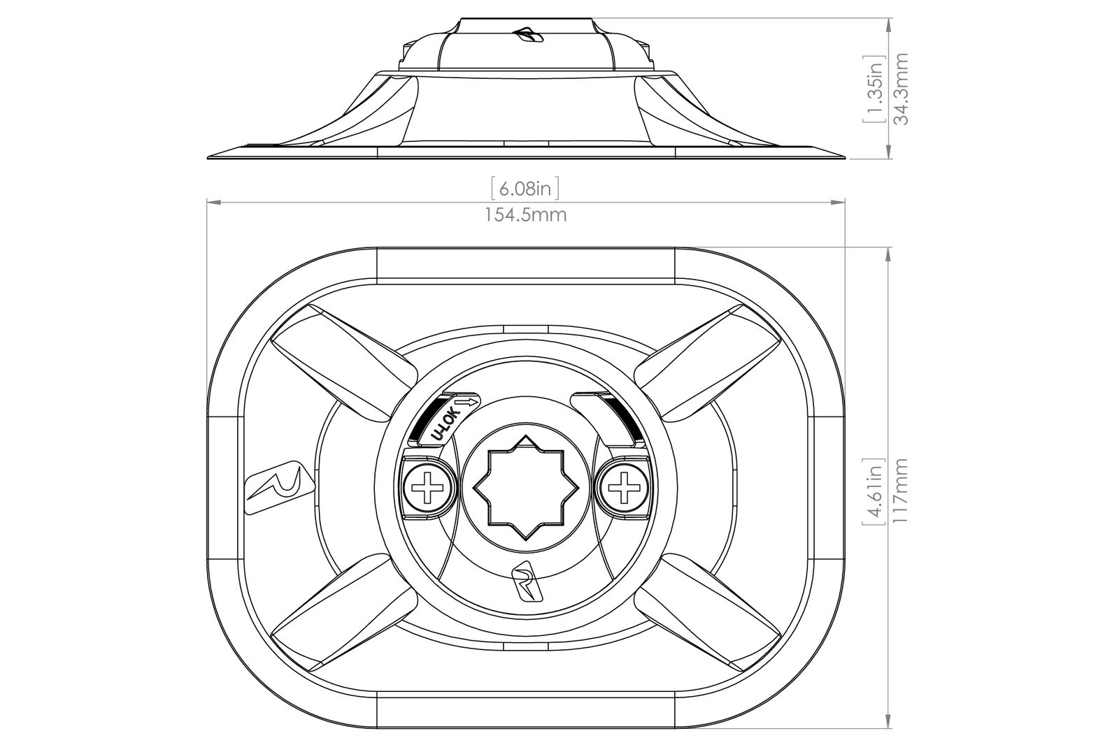 Set: Railblaza Railblaza Set: Ribport Halterung Außenhaut (schwarz) + Kleber Kit, 03-0006-11 ffae6d