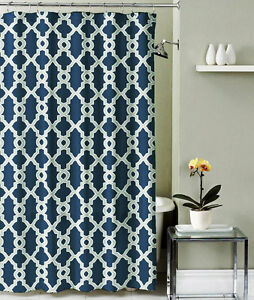 Bathroom Shower Curtain Polyester Fabric Navy Blue And