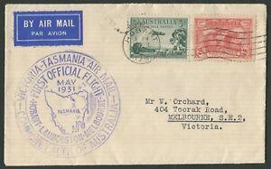 Australian-Aerophilately-1-May-1931-AAMC-197-Hobart-Launceston-by-car