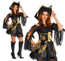 Sexy Damas Pirate Buccaneer Fancy Dress Costume traje de Halloween UK 10-14