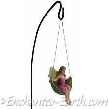 New Miniature/Fairy Garden Fairy on a Leaf Swing with a metal 25cm swing hanger