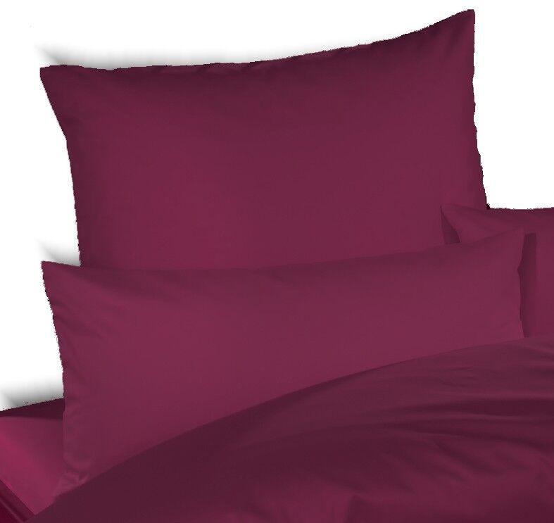 Bettwäsche-Garnitur UNI-MAKO-SATIN - Farbe  3110 aubergine - 200x220 cm - 3 tlg.