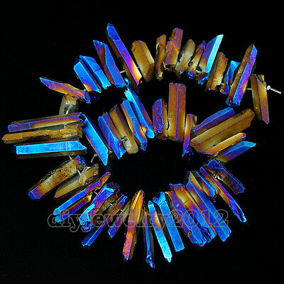 "Metallic Titanium Coated Natural Crystal Druzy Quartz Stick Side Driled Beads 8"""