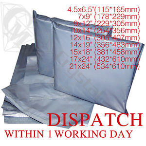 Strong Grey Mailing Post Poly Postage Bags Self Seal Cheap No Smell ALL SIZES 4U