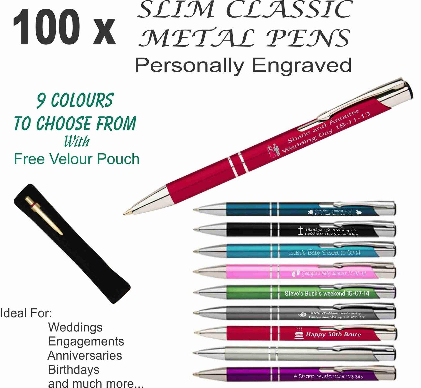 100 x Personalised Custom Metal Pens Engraved Wedding Favour ...