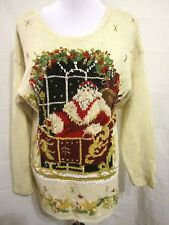 Maggie Lawrence Size M Ugly Christmas Sweater Santa Claus & Sleigh Embellished