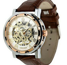 Luxury Mens Leather Band Stainless Skeleton Mechanical Business WristWatch Gifts