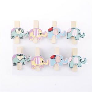 8x-Mixed-Colorful-Elephant-Wood-Clips-Photo-Paper-Peg-Clothespin-Craft-DIY-Decor