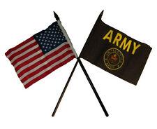 """USA American w/ U.S. Army Black Crest Seal Flag 4""""x6"""" Desk Set Black Base"""