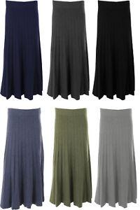 Womens Italian Lagenlook Winter Modal Pleat Knit Flare Long Maxi Ladies Skirt