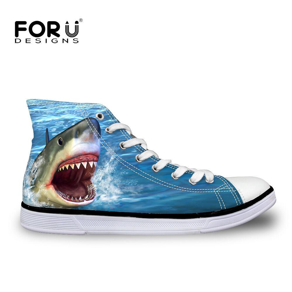 Women Comfy Canvas shoes bluee Dlophin Fashion Hi Top Trainers Ladies Flat Pumps