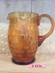 Vintage-Amber-Glass-Water-Jug-Lovely-Design-And-Good-Condition-Hand-Blown
