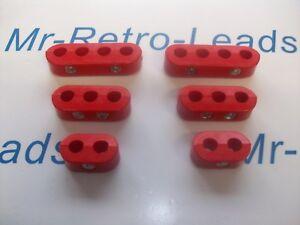 Retro Rosso ACCENSIONE CANDELA Stivali in gomma e terminali X 6 Set Completo Motore V6