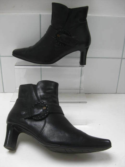 Ladies CLARKS K black leather heeled ANKLE BOOTS shoes size UK 5 EU38