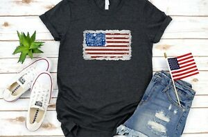 Distressed-Patriotic-Floral-USA-Flag-Unisex-T-Shirt-4th-Of-July-Gray-Handmade