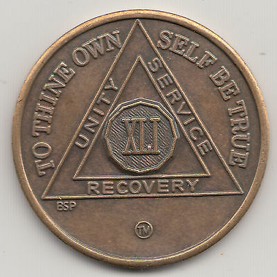41 Years - XLI years - Alcoholics Anonymous AA recovery medal token chip coin