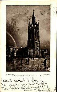Newcastle-upon-Tyne-England-AK-1902-St-Nicholas-Cathedral-Kathedrale-Painting