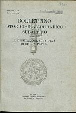 1939 BOLLETTINO STORICO BIBL. SUBALPINO Ducato Sabaudo Savoia Piemonte Torino