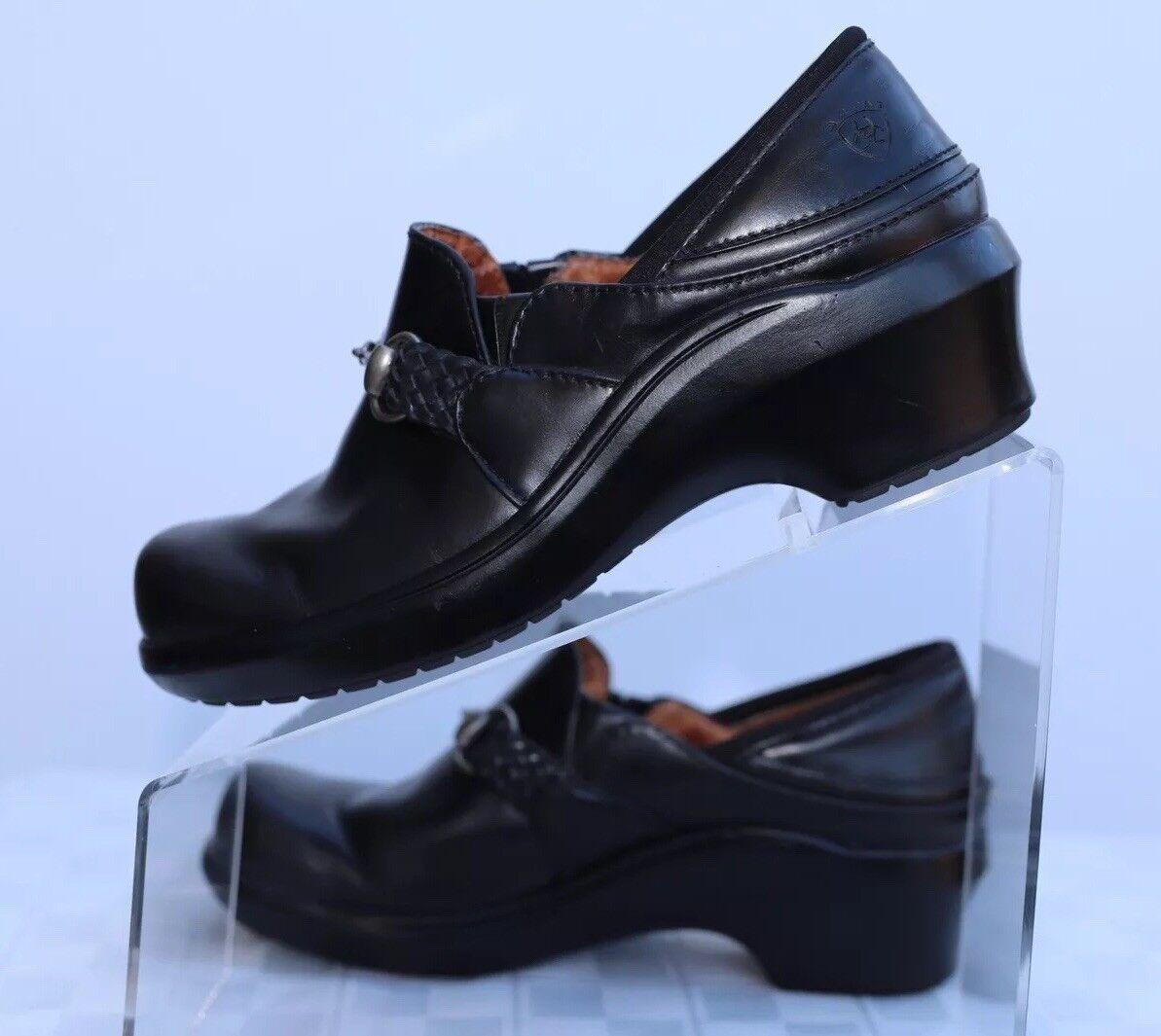 Ariat Santa Cruz pour femme en cuir noir cheval BIT Sabots Mule Chaussures Taille 6.5B