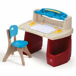 Step2 Deluxe Art Master Desk Toddler Chair Drawing Kids Activity Table  Storage