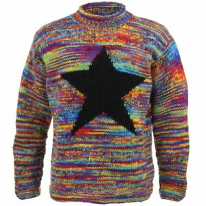 Image is loading Wool-Jumper-Star-Chunky-Knit-Knitted-Sweater-Pullover- 0d0e9dd7d5d8