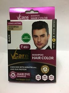20x Vcare Shampoo Hair Color for Men- 25ml- color in 5 Min- (25ml x ...