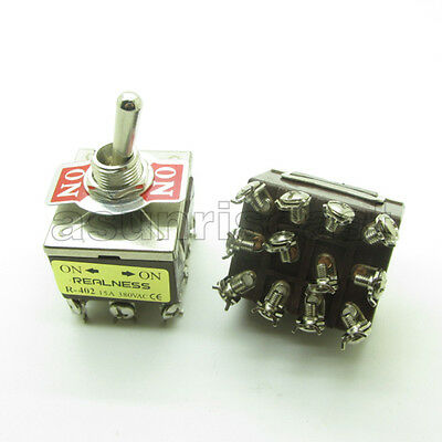 3 Toggle Switch w Waterproof Boot 15A 4Pole 12 Screw Terminal Momentary On//On