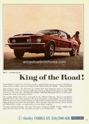 1968 FORD MUSTANG SHELBY GT 350 / 500-KR A3 POSTER AD SALES BROCHURE MINT ADVERT