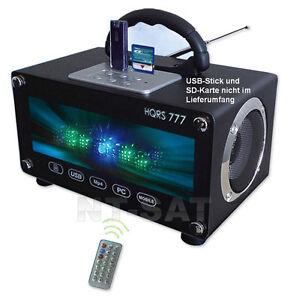 Radio-PORTATILE-USB-SD-Carte-Boombox-LED-Altoparlante-mobile-con-batteria-220v