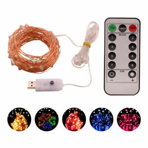 50-100-200LED-USB-Impermeabile-Remoto-Filo-di-Rame-Natale-Stringa-Fata-Luce-8-modalita