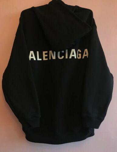 Balenciaga Oversize Back Logo Printed Black Hoodie