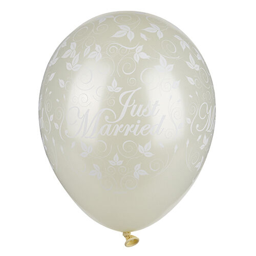 150 150 150 dell'avorio nostra PALLONCINI Ø 29 cm  Just Married  METALLIZZATO certificata TÜV 948590