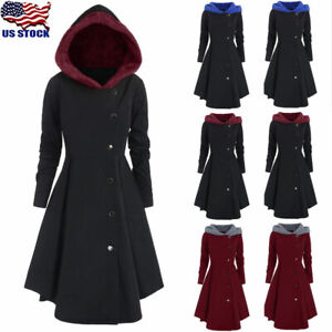 Plus-Size-Womens-Winter-Warm-Long-Peacoat-Coats-Hooded-Trench-Outwear-Jackets-US