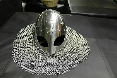 Medieval Steel Viking Vendel Helmet With Chainmail Hand Forged SCA Larp