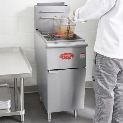 NEW 50 lb NATURAL GAS Commercial Restaurant Stainless Steel Floor Deep Fryer