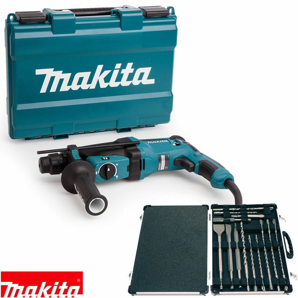 Makita HR2630 1 800W SDS+ Rotary Hammer Drill 110V + D-21200 SDS+ 17 Pieces Set