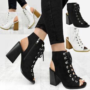 Womens Ladies Block High Heel Open Toe