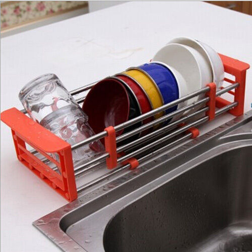 Telescopic Kitchen Sink Storage Dish Drying Rack Holder Fruit Vegetable Drainer