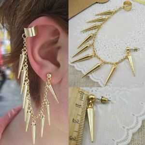 Spikes-Chains-Studs-Ear-Clip-Earrings-Gothic-Punk-Earring-Spikes