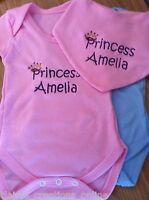 PERSONALISED PRINCESS/PRINCE PINK/BLUE BABY VEST/BODYSUIT & BIB GIFT BOY/GIRL
