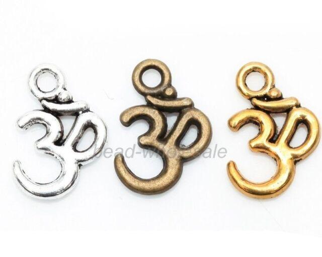 "100pcs Antique Silver/Golden/Bronze"" ohm om Yoga ""Sign Buddha Charms Pendants"