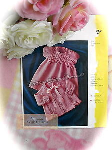 3 Sizes FREE UK P/&P Knitting Pattern Baby/'s Exquisite Matinee Coats 2 Styles